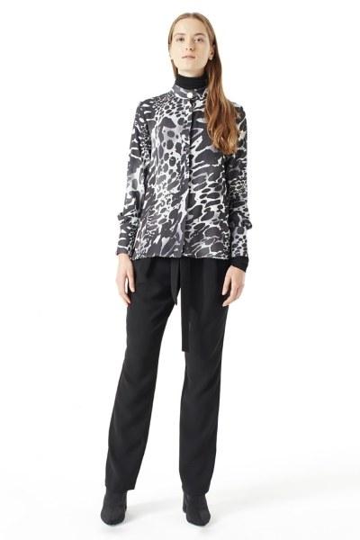 MIZALLE قميص بنقشة جلد النمر(أسود)
