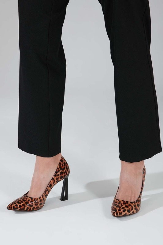 Leopar Tasarım Topuklu Ayakkabı