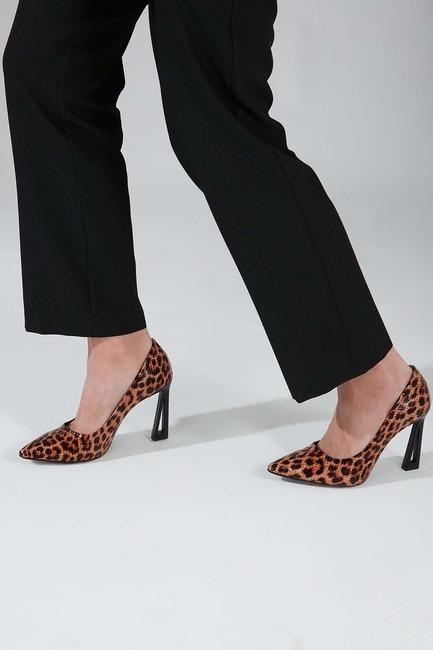 Leopar Tasarım Topuklu Ayakkabı - Thumbnail