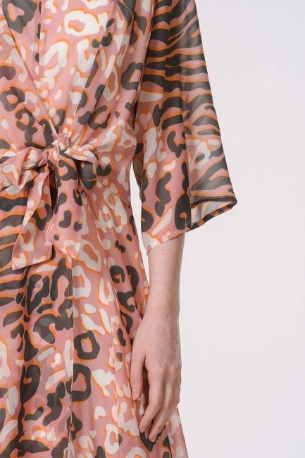 Leopard Patterned Dress (Pink) - Thumbnail