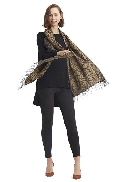 MIZALLE Leopard Shawl (Brown)
