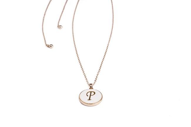 MIZALLE - Letter Necklace (Letter P) (1)