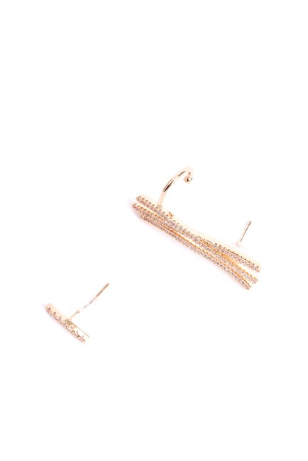 MIZALLE - Line Detailed Cartilage Earrings (Yellow) (1)