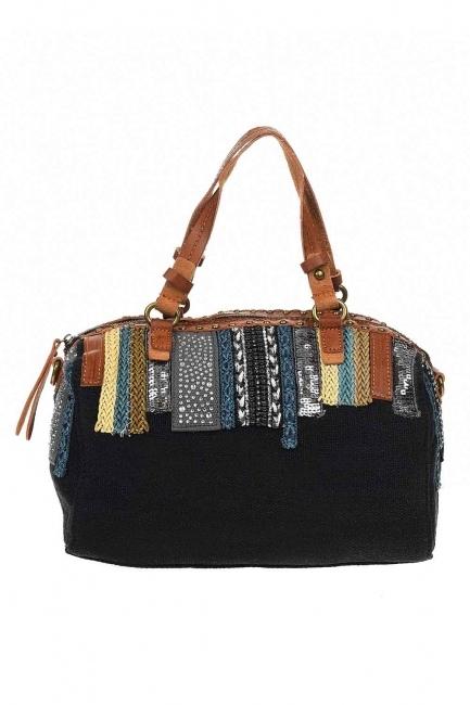 MIZALLE - حقيبة يد من الكتان بالترتر (أَسْوَدُ) (1)