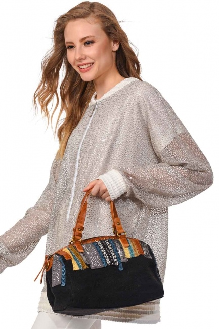 MIZALLE Linen Arm Bag (Black)