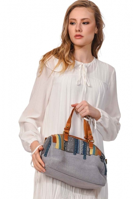 MIZALLE Linen Arm Bag (Grey)