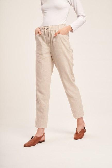 Mizalle - Linen Textured Trousers (Beige) (1)