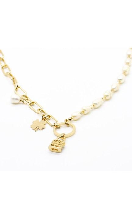 Mizalle - Lock Detailed Necklace (Yellow) (1)