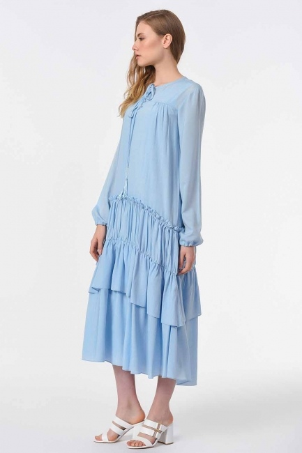 فستان طويل مع تفاصيل مطوية (أَزْرَق) - Thumbnail