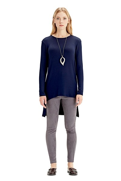 MIZALLE Long-Sleeved T-Shirt (Navy Blue)