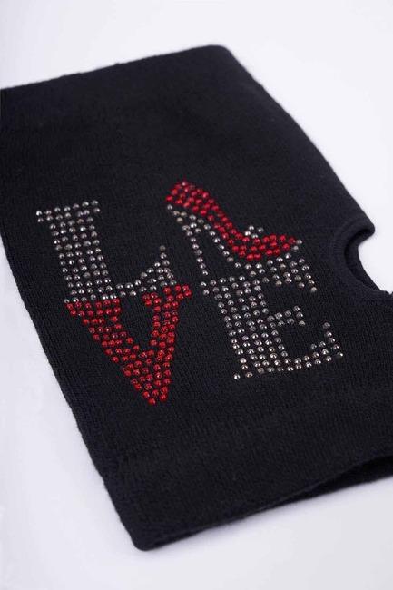 Mizalle - Love Yazılı Kesik Eldiven (Siyah) (1)
