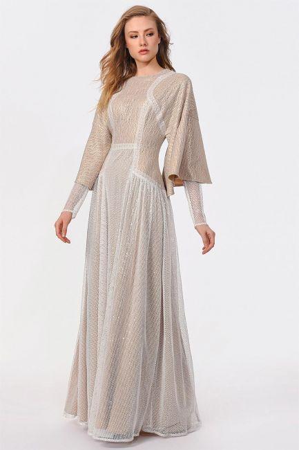 Mizalle - Lüks Abiye Tasarım Elbise (Beyaz/Bej)