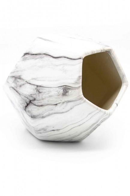 MIZALLE HOME - مزهرية كبيرة الشكل من الرخام (فولاذ) (1)