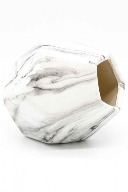 MIZALLE HOME - مزهرية صغيرة الشكل من الرخام(فولاذ) (1)