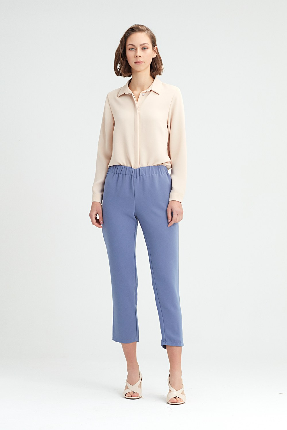 MIZALLE Blue Skinny Trousers (Blue) (1)