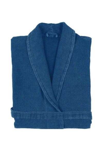 Blue Cotton Bathrobe - Thumbnail