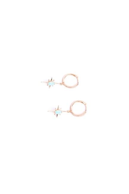 MIZALLE - Mavi Taşlı Yıldız Küpe (Sarı) (1)