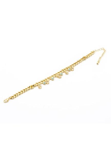 MIZALLE - Blue Stone Chain Bracelet (Yellow) (1)