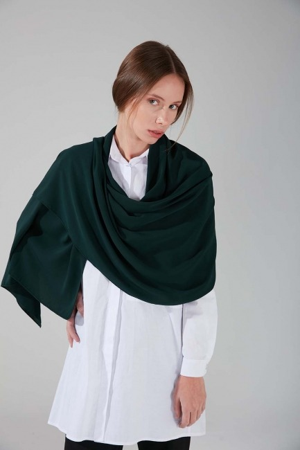 Medine İpeği Şal (Zümrüt Yeşili) - Thumbnail