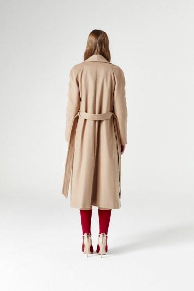 معطف بياقة واسعة (لون جملي) - Thumbnail