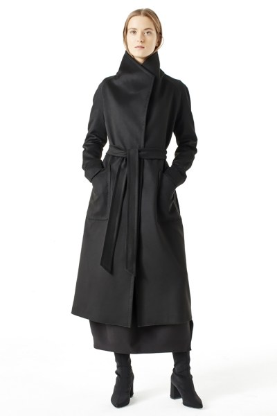 MIZALLE معطف بياقة واسعة (أسود)