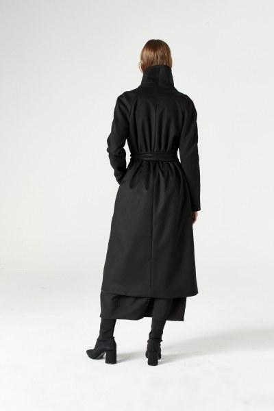 معطف بياقة واسعة (أسود) - Thumbnail