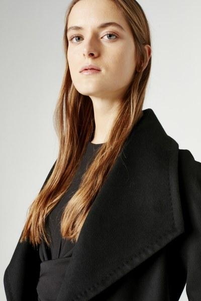 Mega Collar Cachet Coat (Black) - Thumbnail