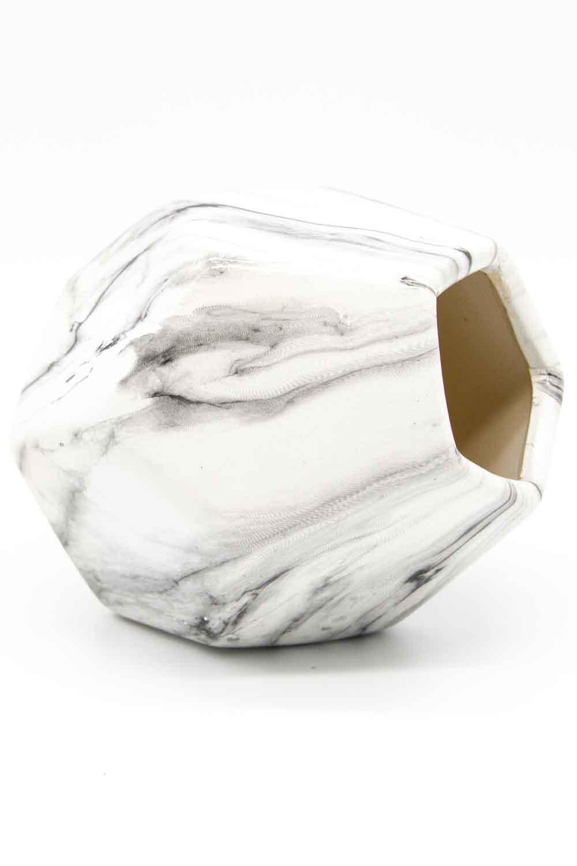 MIZALLE مزهرية صغيرة الشكل من الرخام(فولاذ) (1)