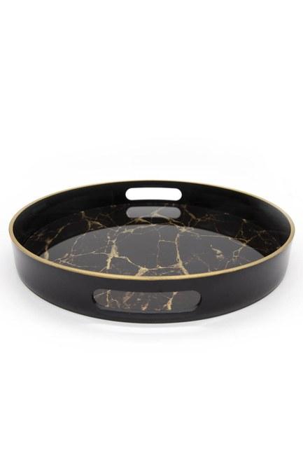 MIZALLE HOME - Marble Round Tray (Black) (1)