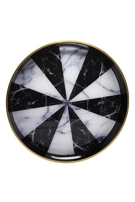 MIZALLE HOME - Mermer Yuvarlak Tepsi (Siyah/Beyaz) (1)