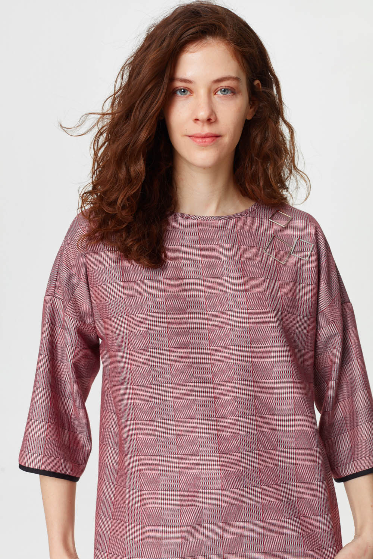 Metal Aksesuarlı Ekose Bluz (Bordo)