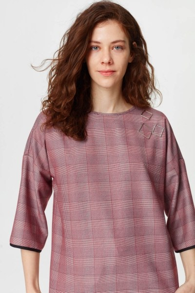 Metallic Detailed Plaid Blouse (Claret Red) - Thumbnail