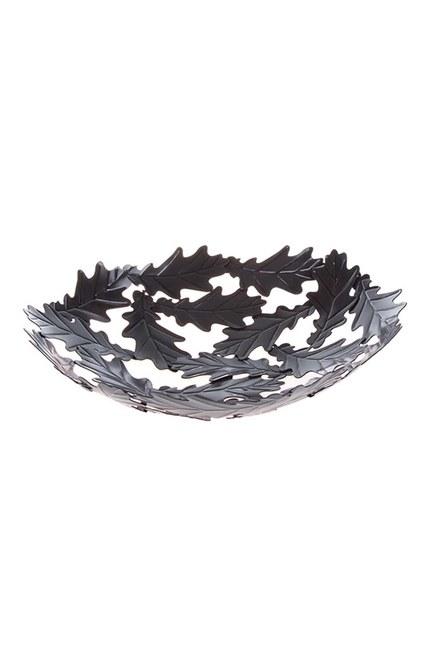 Mizalle - Metal Büyük Dekoratif Tabak (Siyah)