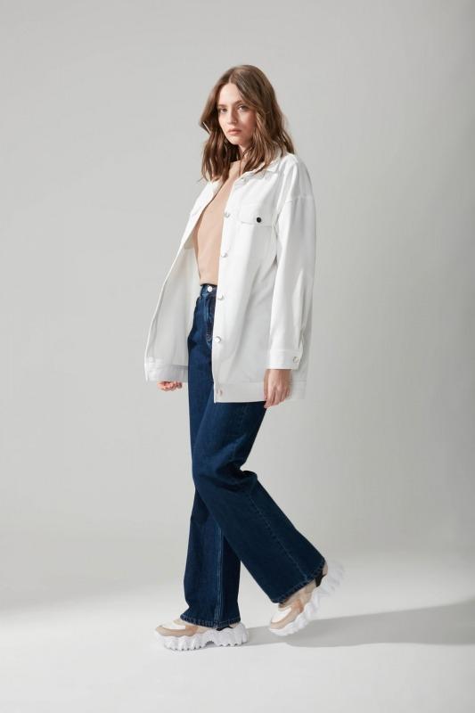 Düğmeli Gömlek Beyaz Ceket