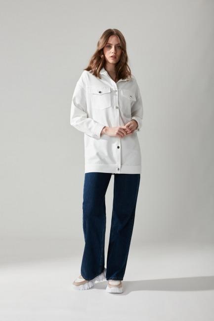 Mizalle - Metal Düğmeli Gömlek Ceket(Beyaz)