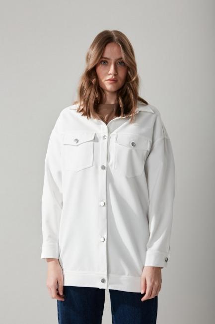 Düğmeli Gömlek Beyaz Ceket - Thumbnail
