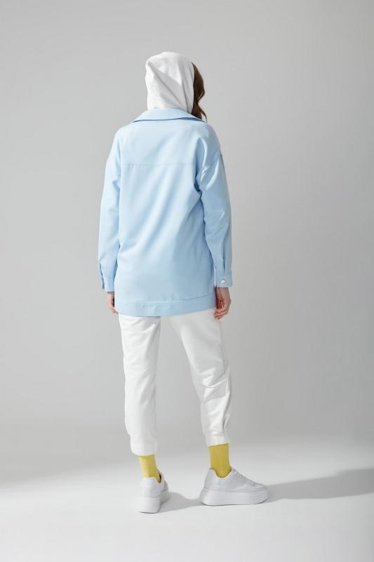 Metal Düğmeli Gömlek Ceket(Mavi)