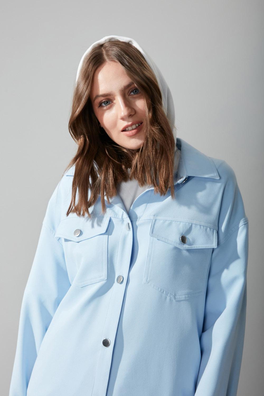 Düğmeli Gömlek Mavi Ceket