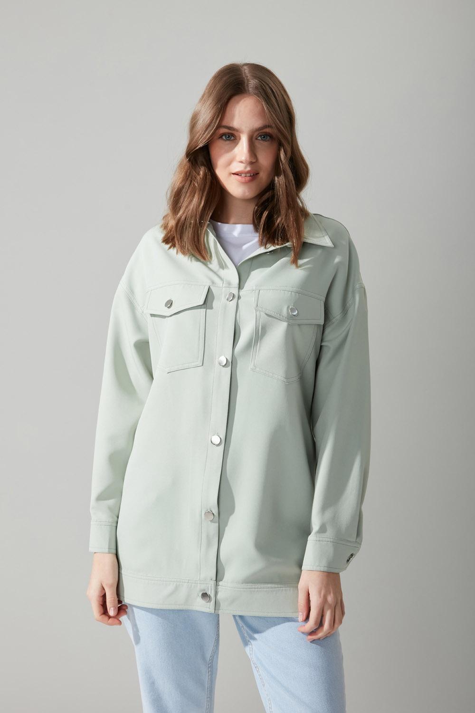 Düğmeli Gömlek Yeşil Ceket