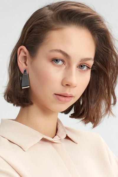 Metal Twisted Earrings (Rose) - Thumbnail