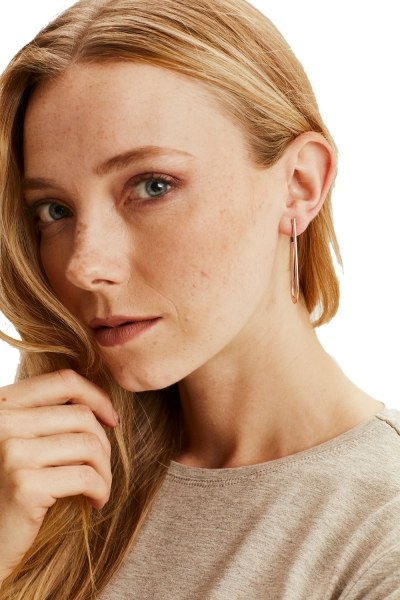 Metal Minimal Earrings (Rose) - Thumbnail