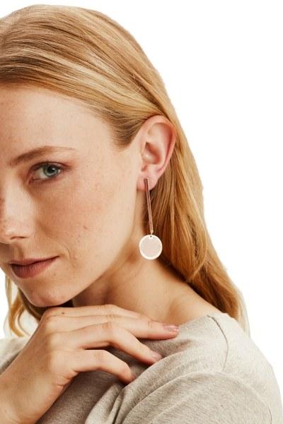 MIZALLE - Metal Flake Pendant Earrings (Rose) (1)