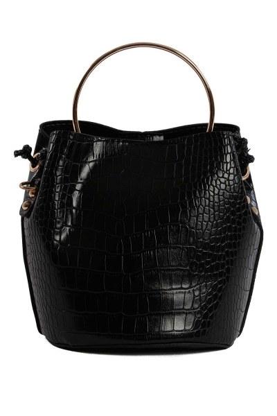 MIZALLE - حقيبة الكتف مع مقبض معدني (أسود) (1)