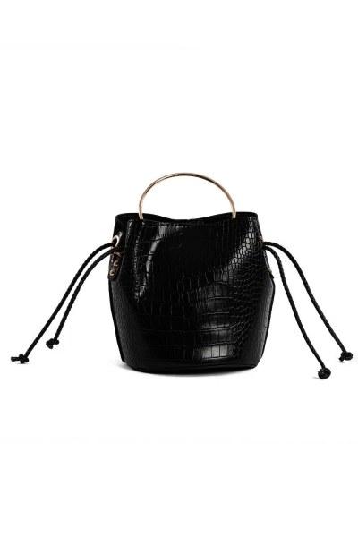 Shoulder Bag With Metal Handle (Black) - Thumbnail