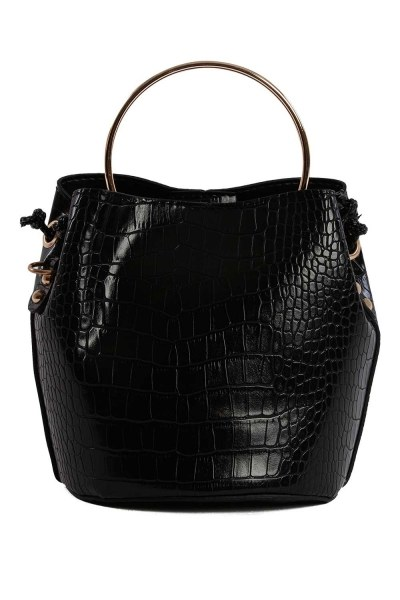 MIZALLE - Shoulder Bag With Metal Handle (Black) (1)