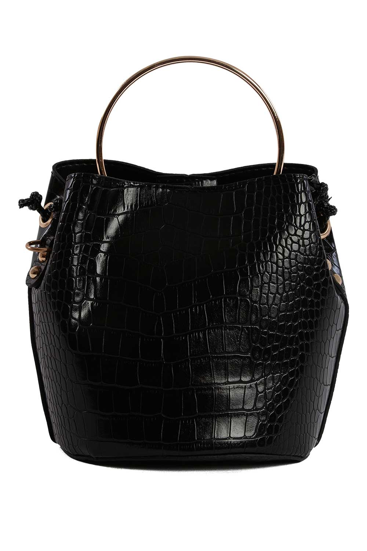 MIZALLE Shoulder Bag With Metal Handle (Black) (1)