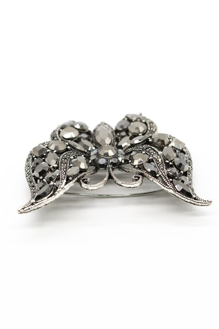 Metalik Kelebek Broş (Siyah) - Thumbnail