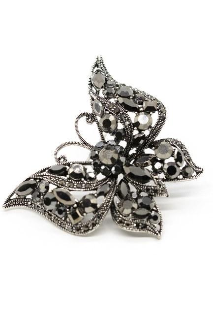 MIZALLE - Metalik Kelebek Broş (Siyah) (1)