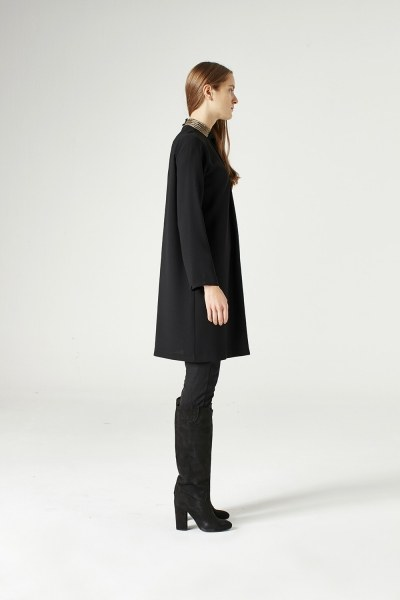 Tunic With Metalık Detailed Collar (Black) - Thumbnail