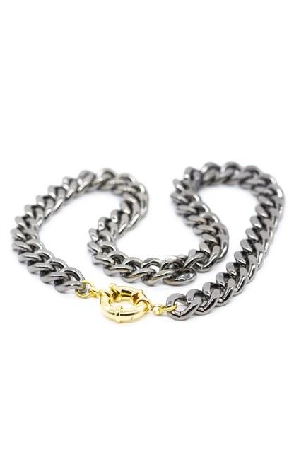 MIZALLE - Metallic Chain Necklace (Grey) (1)